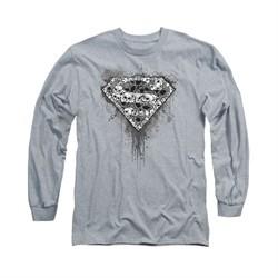 Superman Shirt Skull Shield Long Sleeve Athletic Heather Tee T-Shirt