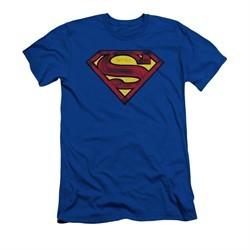 Superman Shirt Slim Fit Charcoal Shield Royal Blue T-Shirt