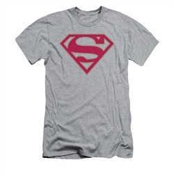 Superman Shirt Slim Fit Crimson Shield Athletic Heather T-Shirt