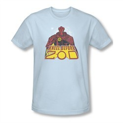 Superman Shirt Slim Fit Kneel Before Light Blue T-Shirt
