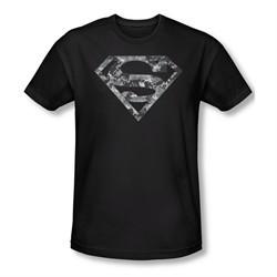 Superman Shirt Slim Fit Urban Digi Camo Shield Black T-Shirt