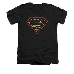 Superman Shirt Slim Fit V-Neck Colored Shield Black T-Shirt