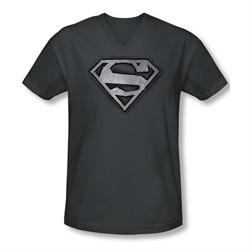 Superman Shirt Slim Fit V-Neck Duct Tape Shield Charcoal T-Shirt