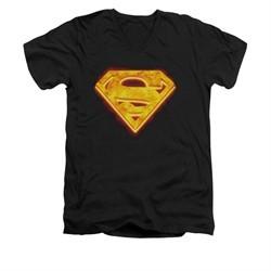 Superman Shirt Slim Fit V-Neck Hot Steel Shield Black T-Shirt
