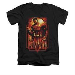 Superman Shirt Slim Fit V-Neck Standing Over Black T-Shirt