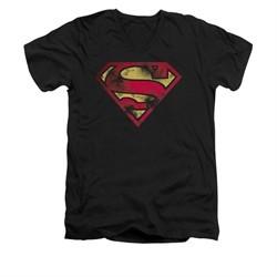 Superman Shirt Slim Fit V-Neck War Torn Shield Black T-Shirt