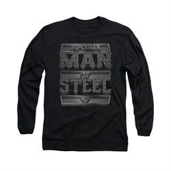 Superman Shirt Steel Text Long Sleeve Black Tee T-Shirt