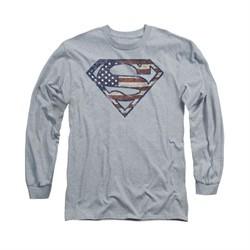 Superman Shirt Wartorn Flag Shield Long Sleeve Athletic Heather Tee T-Shirt