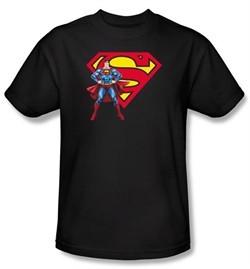 Superman T-shirt DC Comics Logo Shield Adult Black Tee Shirt