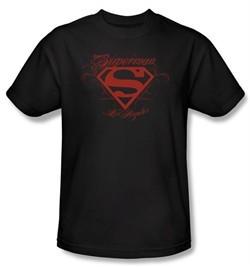 Superman T-shirt DC Comics Los Angeles LA Shield Adult Black Tee Shirt