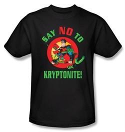 Superman T-shirt DC Comics Say No To Kryptonite Adult Black Tee Shirt