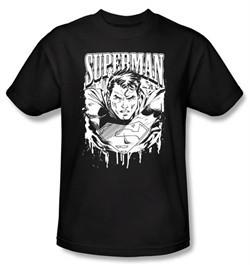 Superman T-shirt DC Comics Super Metal Adult Black Tee Shirt