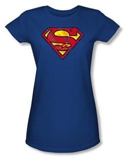 Superman Juniors T-shirt Action Shield Superhero Royal Blue Tee Shirt