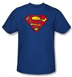 Superman Kids T-shirt Action Shield Superhero Royal Blue Tee Youth