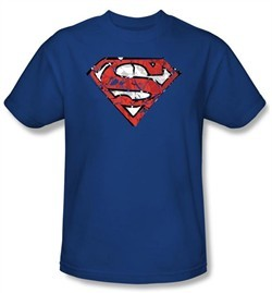 Superman Kids T-shirt Ripped And Shredded Shield Royal Blue Tee Youth