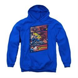 Superman Youth Hoodie Comic Strip Royal Blue Kids Hoody