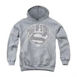 Superman Youth Hoodie Distressed Man Of Steel Athletic Heather Kids Hoody