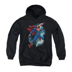 Superman Youth Hoodie Lightning Black Kids Hoody