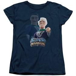 SuperMansion Womens Shirt Titanium Rex Navy Blue T-Shirt