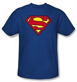 Superman T-shirt Classic Shield Logo Royal Blue Adult Tee Shirt