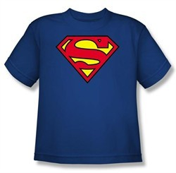 Kids Superman Classic Logo T-shirt Youth Royal Blue Tee Shirt