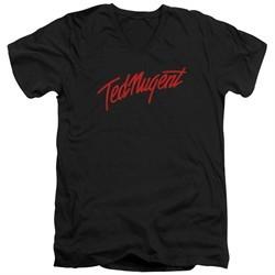 Ted Nugent Slim Fit V-Neck Shirt Distress Logo Black T-Shirt