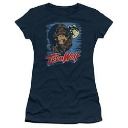 Teen Wolf Juniors Shirt Moon Wolf Navy Tee T-Shirt