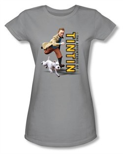 Adventures Of Tintin Juniors T-Shirt Come On Snowy Silver Tee Shirt
