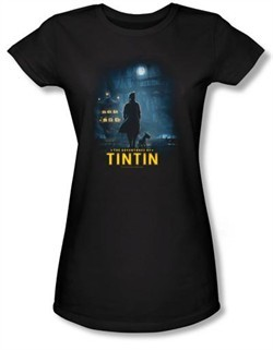The Adventures Of Tintin Juniors T-Shirt Title Poster Black Tee Shirt