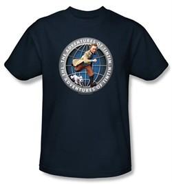 Adventures Of Tintin Kids T-Shirt Globe Youth Navy Blue Tee Shirt