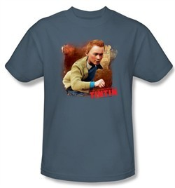 The Adventures Of Tintin Kids T-Shirt ? Title Slate Blue Tee Shirt