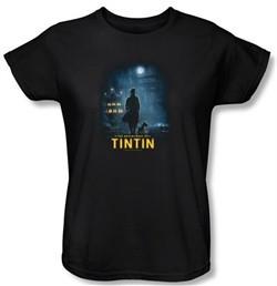 The Adventures Of Tintin Ladies T-Shirt ? Title Poster Black Tee Shirt