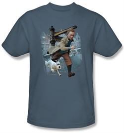 The Adventures Of Tintin T-Shirt Labrador Street Slate Blue Tee Shirt