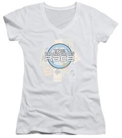 The Amazing Race Juniors V Neck Shirt Road Sign White T-Shirt
