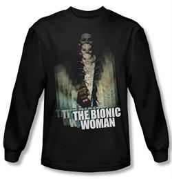 The Bionic Woman Shirt Motion Blur Long Sleeve Black Tee T-Shirt