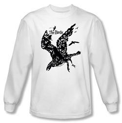 The Birds Long Sleeve T-shirt Movie Title White Tee Shirt