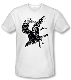 The Birds Slim Fit T-shirt Movie Title White Tee Shirt