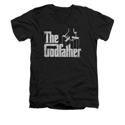 The Godfather Shirt Slim Fit V Neck Logo Black Tee T-Shirt