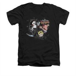 The Grim Adventures Of Billy & Mandy Shirt Slim Fit V Neck Splatter Cast Black Tee T-Shirt