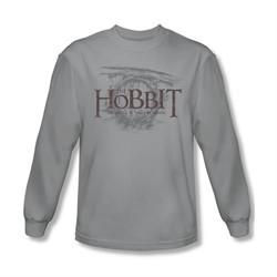 The Hobbit Battle Of The Five Armies Shirt Door Logo Long Sleeve Silver Tee T-Shirt