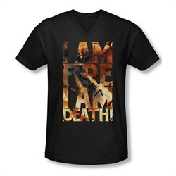 The Hobbit Battle Of The Five Armies Shirt Slim Fit V Neck I Am Fire Black Tee T-Shirt