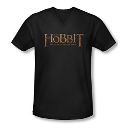 The Hobbit Battle Of The Five Armies Shirt Slim Fit V Neck Logo Black Tee T-Shirt