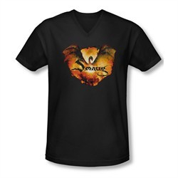 The Hobbit Battle Of The Five Armies Shirt Slim Fit V Neck Reign In Flame Black Tee T-Shirt