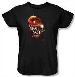 Lord Of The Rings Ladies T-Shirt You Shall Not Pass Black Tee