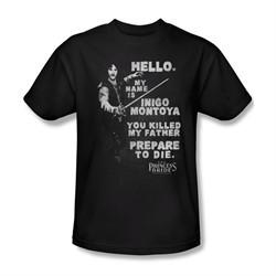 The Princess Bride Shirt Hello My Name Is Adult Black Tee T-Shirt