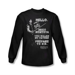 The Princess Bride Shirt Hello My Name Is Long Sleeve Black Tee T-Shirt