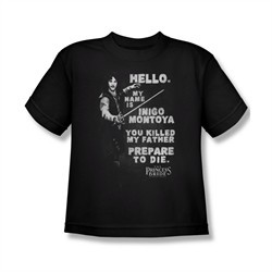 The Princess Bride Shirt Kids Hello My Name Is Black Tee T-Shirt