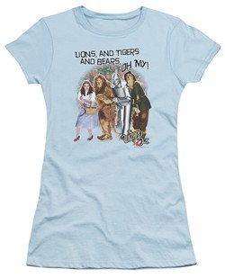 The Wizard Of Oz  Juniors Shirt Lions and Tigers and Bears Oh My! Light Blue T-Shirt