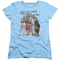 The Wizard Of Oz  Womens Shirt Lions and Tigers and Bears Oh My! Light Blue T-Shirt