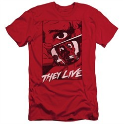 They Live  Slim Fit Shirt Graphic Poster Red T-Shirt